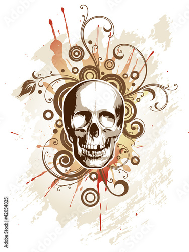 Skull on a grunge floral background