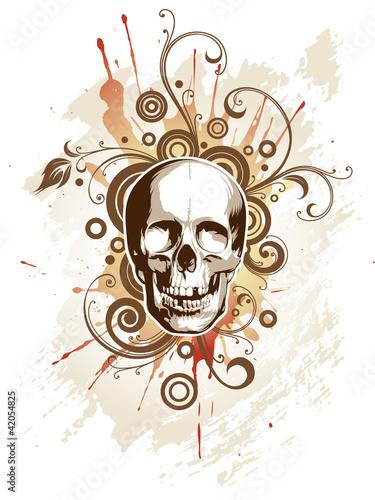 Skull on a grunge floral background