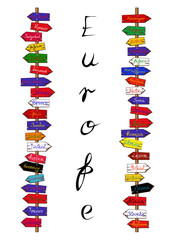 Europe countries signpost
