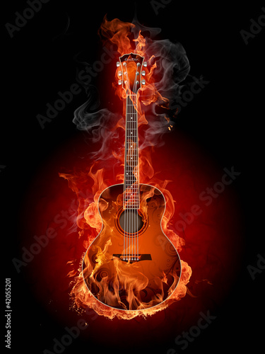 Plexiglas Vlam Burning guitar