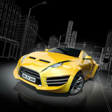 Fototapety Yellow sports car. Original car design.
