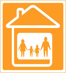 yellow family sign with home and people silhouette