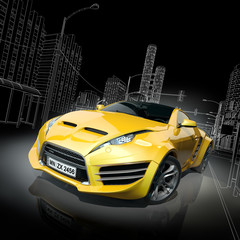Yellow sports car. Original car design.