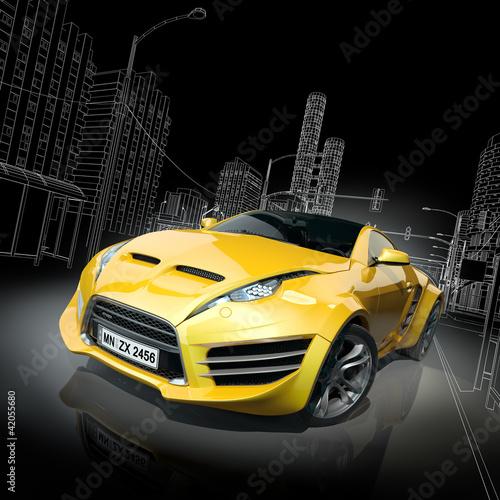 zolty-samochod-sportowy-w-projekcie-3d