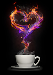 Coffee cup with a fire heart