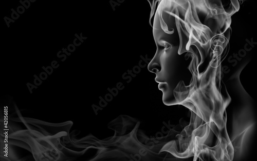 canvas print picture Face made of smoke