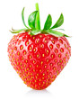 strawberry berry with green leaf isolated on white background