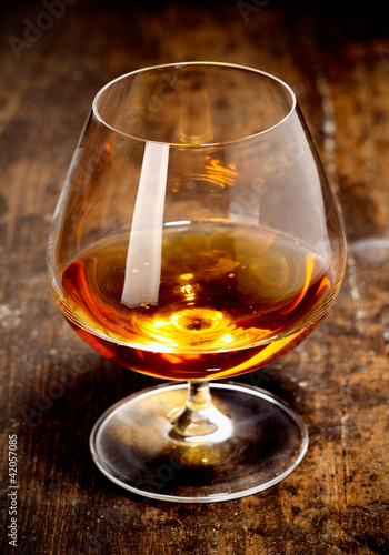 Glowing goblet of rich cognac