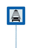 Car wash road sign on post pole traffic roadsign blue isolated