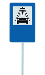 Car wash road sign post pole traffic blue isolated copy space