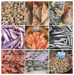 French fish market collage