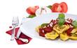 Fresh Tortellini on plate isolated on white