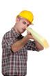 Carpenter holding plank of wood