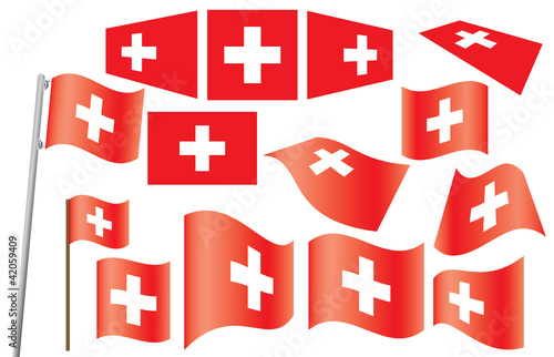 set of flags of Switzerland vector illustration