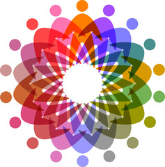 circle of colorful people pictogram,  vector icon for design