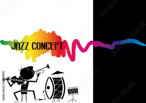jazz concept, vector drawing music jazz orchestra