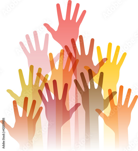 different up hands, abstract vector illustration