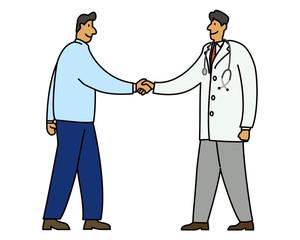握手イラスト(医師)