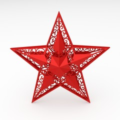 digital render of a red decorative star