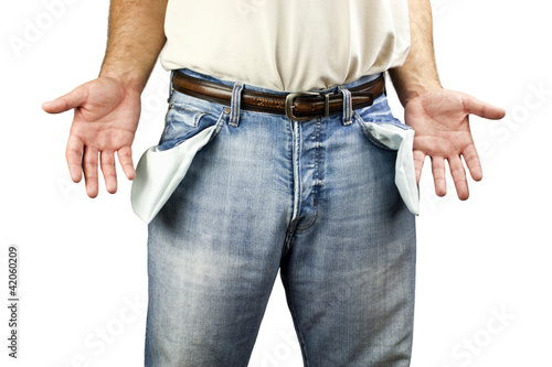 Man with empty pockets
