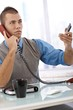 Determined businessman on phone