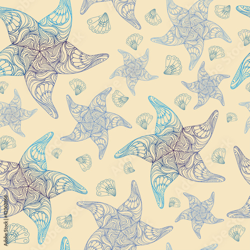 Vector seamless pattern with starfish and seashells