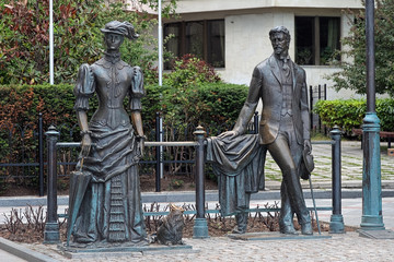 Anton Chekhov and Lady with dog - Monument in Yalta, Crimea