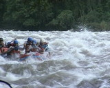 People in rubber boat ride wildwater river. Risky recreation