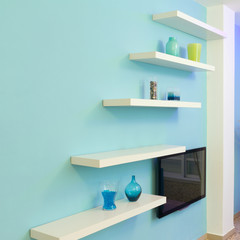 Shelves Interior design in a new house