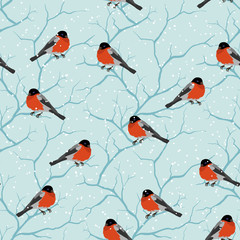 Winter seamless pattern. Birds on a tree in Christmas.