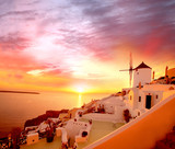 Fototapety Santorini with old Windmill in Oia village, Greece