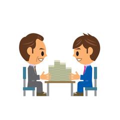 ビジネスマン イラスト 融資 お金