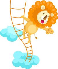 Lion climbing rope ladder