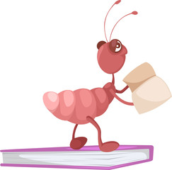 Cute ant reading a book