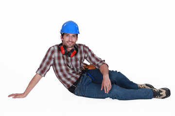 Tradesman taking a break