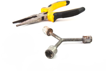 Wrench and Locking pliers isolated