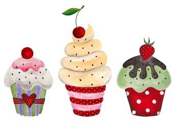 Set of cupcake. Watercolors on paper
