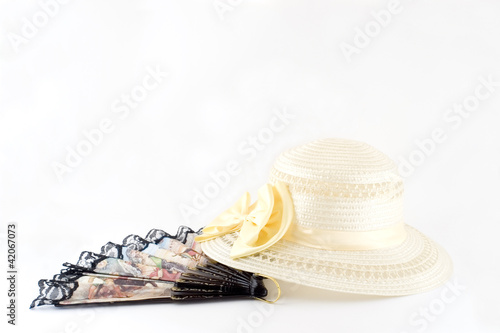 Ladies hat and fan of 20th century