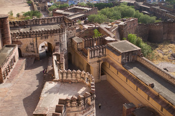 Birds-eye view to Mehrangarh Fort, Jodhpur (blue city)