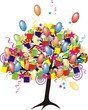 cartoon party tree with baloons, gifts, boxes