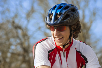 Happy Bicyclist In Sportswear