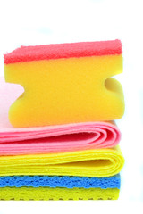 Dish washing cleaning cloths and sponge on white background