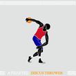 Classic discus thrower pose in modern uniform