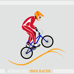 Greek art stylized BMX racer jumping on tracks