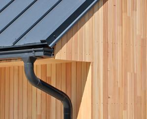 Wooden facade, house construction