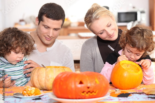 family preparing Halloween together