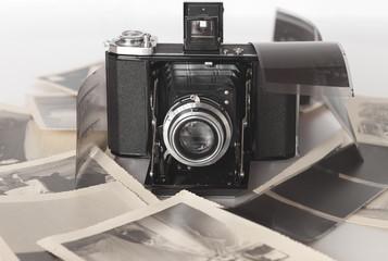 A vintage folding camera