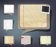 Set of new and old paper notebook sheets