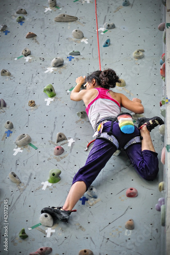 Girl doing rock climbing