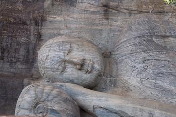 Ancient lying Buddha image, Gal Vihara, Polonnaruwa, Sri Lanka